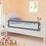 vidaXL Bettschutzgitter Bettgitter Kinderbettgitter Babybettgitter Rausfallschutz Kinder Baby Kleinkind Gitter Kinderbett Grau 150x42cm Polyester - 2