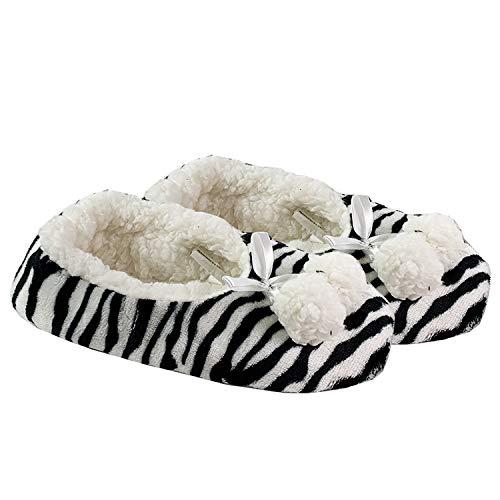 Mojawo Kuschelige Hausschuhe Zebra mit Bommel+Schleife Hausstiefel Hüttenschuhe Plüsch und Antirutschsohle in Größe 38/39
