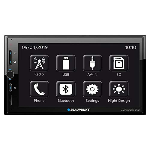 Blaupunkt Amsterdam 290 BT Touchscreen Radio | 2DIN | Smartphone Mirroring | Bluetooth Handsfree & Audio | USB | SDHC | AUX | 7-band EQ | Aansluiting stuurwielafstandsbediening | IR-afstandsbediening | 4X 50W