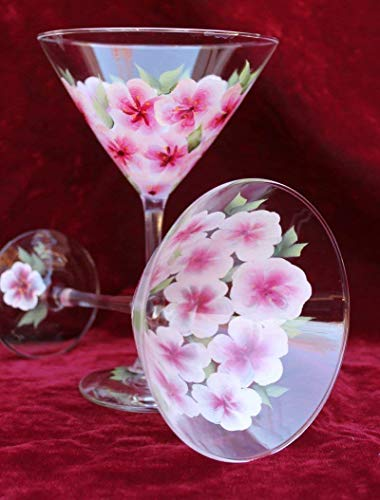 Hand Painted Martini Glasses - Cherry Blossoms (Set of 2)