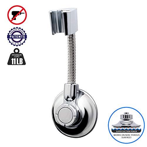 BathBeyond Shower Head Holder - Flexible Shower Head Holder Adjustable Vacuum Suction Cup Shower Head Wall Mount Holder for Hand Held Shower Head (Adhesive Sticker Provided)