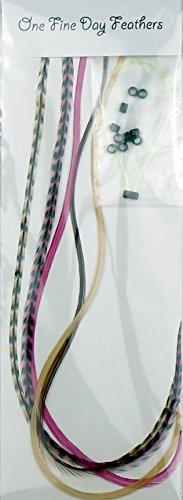 Plume Extensions de cheveux Lot de 5 + Anneaux/boucle