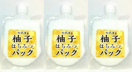 ◆アウトレット【MYM】3パックセット◆白肌屋 塗って洗い流す 柚子はちみつパック 120gパウチX3袋◆