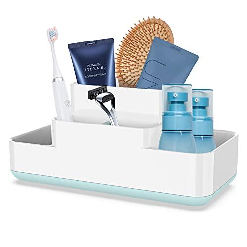 Luvan Zahnbürstenhalter für das Badezimmer, Aufbewahrungs-Organizer fürs Badezimmer Caddy aus lebensmittelechtem PP und ABS-Kunststoff, BPA-frei, vielseitige Aufbewahrung