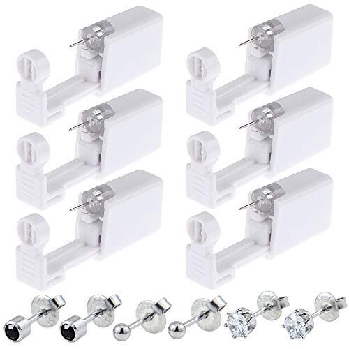 Ear Piercing Gun - Silmy 6 Pack Ear Piercing Kit Disposable Self Ear Piercing Gun with Ear Stud and Clean Tool Pierce Kit Tool for Nose Studs Cartilage Tragus Helix Piercing Gun