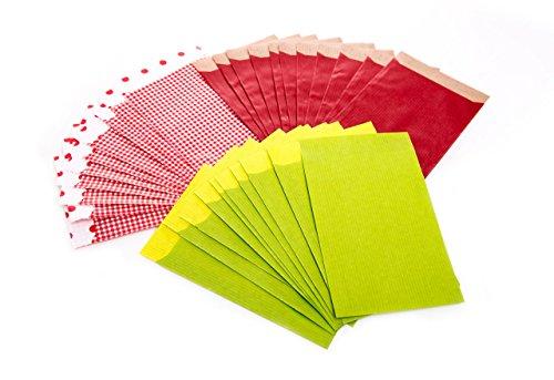 Set: 3 x 25 kleine Papiertüte Geschenktüte Papier-Flachbeutel 9,5 x 14 + 2 cm rot grün weiß kariert Verpackung Kleinteile Kunden Geschenke Gastgeschenk Mitgebsel give-away