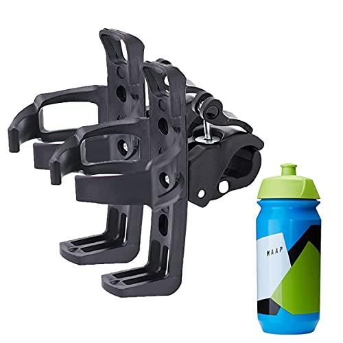 2 soportes para botellas para bicicleta, de aleación de aluminio Eagnesio, 360°, para bicicletas de montaña, color negro
