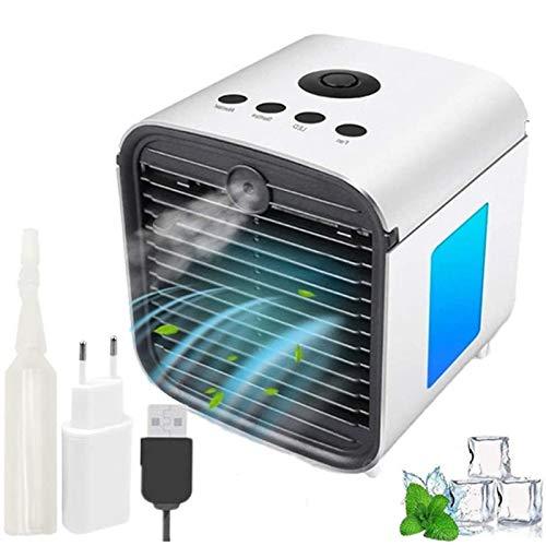 DIKER Aire Acondicionado móvi portátil Ventilador Pequeño, Air Cooler Enfriador de Air Personal y portátil, 7 Luces LED, 3 Velocidades, para el hogar/Oficina/habitación (Blanco)