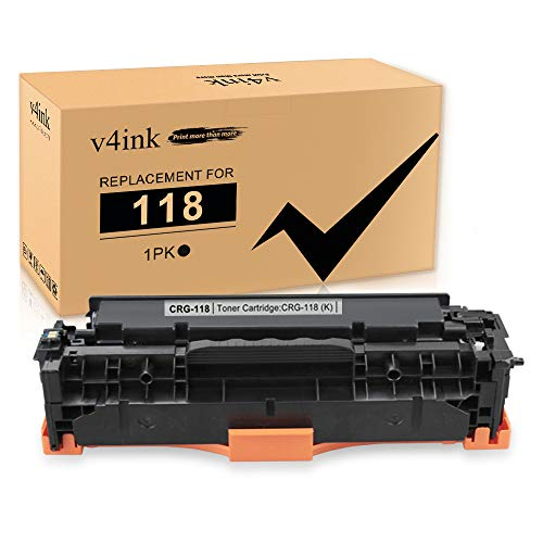 V4INK 1PK Remanufactured Toner Cartridge Replacement for Canon 118 CRG118 HP 304A CC530A Black Toner Ink for Canon ImageClass MF726Cdw MF8350CDN MF8580Cdw MF8380Cdw LBP7660Cdn Printer
