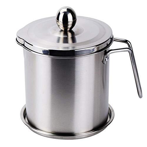 YVX Recipiente de Grasa de Tocino con colador, Separador de Grasa 1.8L / 2.2L Lata de Grasa para Cocina Recipiente de Aceite de Cocina para Aceite de Cocina Usado Aceite para freír Grasa, 1.8L