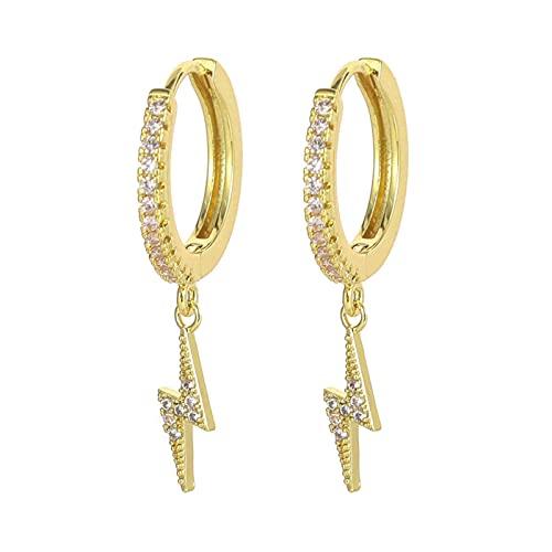 Moda Cubic Zircon Lindo Rayo Relámpago Hoop Ear Anillo Oro y Plata Color Rayo Pendientes Colgantes Joyas de Mujer TINGG (Color : 18k)