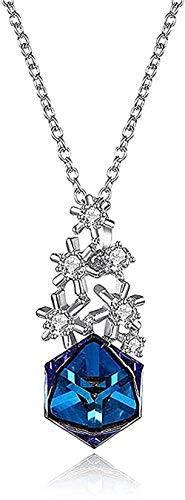 Yiffshunl Necklace Women Silver Pendant Snowflake Candy Crystal Christmas Pendant Necklace Gift for Women Men Girls Boys