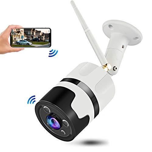 Cámara de vigilancia inalámbrica para exteriores CHORTAU 1080P WiFi, cámara IP impermeable de gran angular con ojo de pez de 180 °, cámara de seguridad con visión nocturna, detección de movimiento