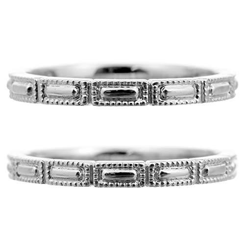 [ココカル]cococaru ペアリング 2本セット K18 ホワイトゴールド 結婚指輪 日本製 (レディースサイズ9号 メンズサイズ1号)