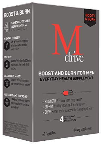 Mdrive Boost and Burn for Men, Zinc, KSM-66 Ashwagandha, Cordyceps, Advantra Z, Chromax - Natural Energy, Strength, Stress Relief, Lean Muscle, 60 Capsules