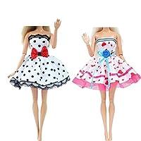 人形用ドレス 人形のための2個の手作り人形のドレスカジュアル日常着ツインズ衣装ウェアアクセサリーキッズ玩具 YXJJP (Color : F, Size : M)