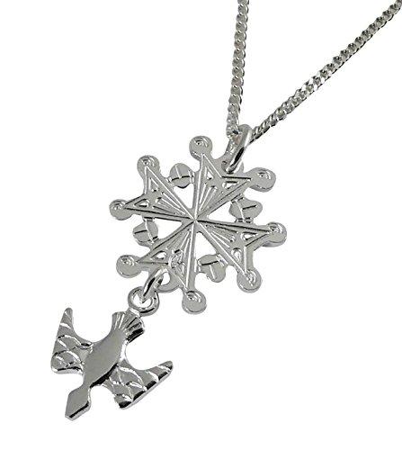 Niceandnoble Pendentif croix Hugenotten Croix Huguenote avec chaîne gourmette 42 cm en argent sterling 925
