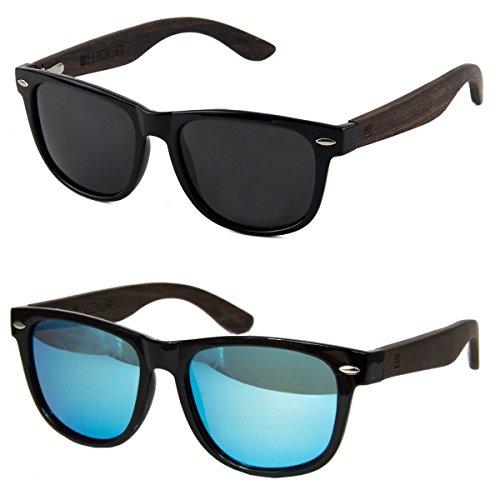 WOLA Sonnenbrille Holzbügel ICE eckige Holzbrille Damen Herren Kunststoff Rahmen inkl Faltetui Doppelpack: 1x blaue und 1x graue Linse (1x Etui)