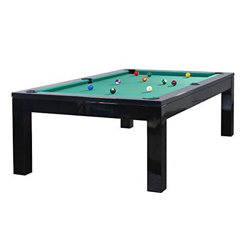Mesa de billar modelo OLIVIA 7 pies/con bandeja de 19 mm, aproximadamente 280 kg en colour negro y verde de tela
