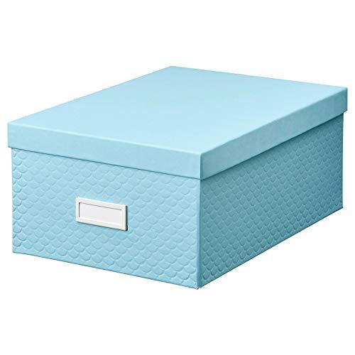 Ikea PALLRA - Caja de almacenamiento con tapa para archivos, oficina o casa, 35 cm, color azul