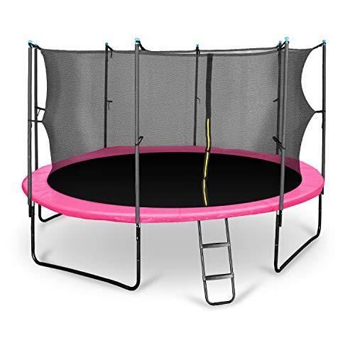 Klarfit Rocketgirl 430 Cama elástica trampolin con Red de Seguridad (Superficie Base 430cm diametro, sujecion 4 Patas Doble, Varillas de sujecion Acolchadas, Lona Resistente a los Rayos UV, Protector