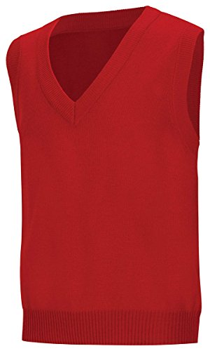 Classroom School Uniforms Men's Adult Unisex V-Neck Sweater Vest, Red, Small