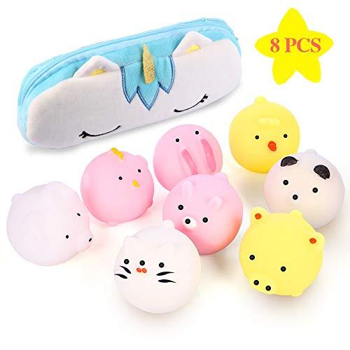 Moj Moj Squishies Jumbo Mochi Squishy 8 Pcs Kawaii Animal Squishies Squishy Toys with Unicorn Storage Bag Party Favors Kids Easter Egg Stuffers Toy Gift on Holiday Birthday Christmas