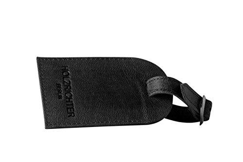 HOLZRICHTER Berlin Adressanhänger No 1-1 schwarz-anthrazit - Vintage-Look Reiseanhänger handgefertigt aus Premium-Leder