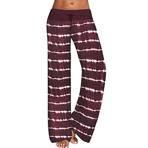 Mujer Ganduleado, Fitness Yoga Pantalones,Pantalones de Yoga Estampados Sueltos, Pantalones Deportivos de Pierna Ancha para Mujer-Vino Tinto_L,Polainas para Running Pilates Fitness