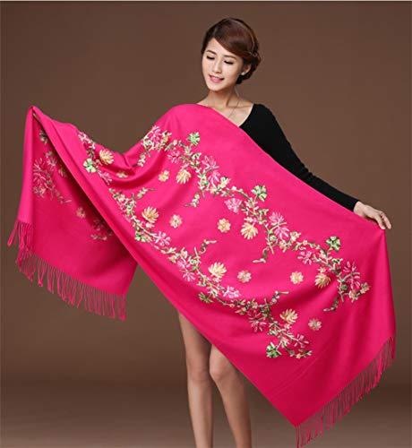 RRQS geborduurde kasjmier sjaal vrouwelijke borduurwerk bloem rode bruiloft imitatie kasjmier sjaal Chinese nationale wind sjaal sjaal