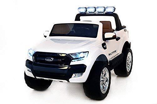 RIRICAR Ford Ranger Wildtrak 4X4 LCD Luxury, Coche eléctrico para niños, 2.4Ghz, Pantalla LCD, Blanco, 2x12V, 4 X Motor, Mando a Distancia, Dos Asientos en Cuero, Ruedas Blandas de EVA, Bluetooth