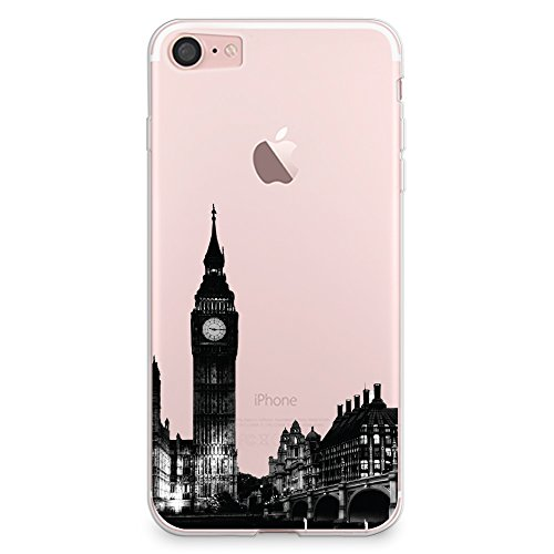 Sharon Dinah Cover iPhone 7 Case, CasesByLorraine London City View Clear Transparent Case Big Ben TPU Soft Gel Protective Cover for Apple Cover iPhone 7 (A14)