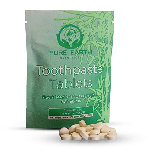 Sustainable Toothpaste Tablets with Fluoride - Natural Mint Flavor Eco Toothpaste Tablets Zero Waste for Healthy Teeth and Fresh Breath - 60 Count Toothpaste Tablets Vegan by Pure Earth Essentials