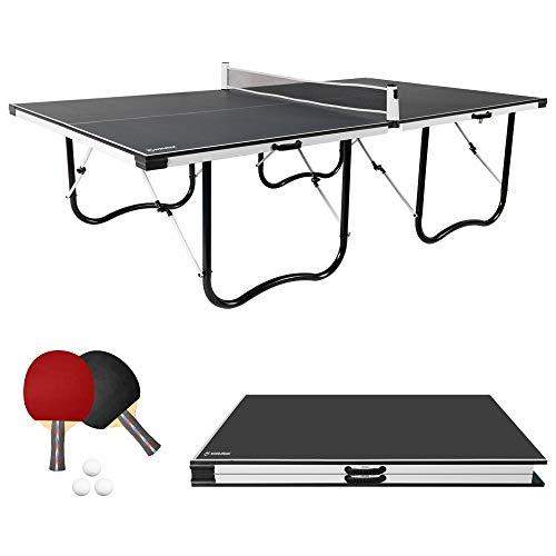 WIN.MAX 9FT Tischtennisplatte, Klappbare Tischtennistisch mit U Form Metallprofilrahmen und einstellbarem Netz 274L x 152W x 76H cm (Schwarz)