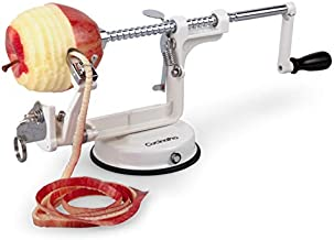 Apple Peeler and Corer by Cucina Pro - Long Lasting Chrome Cast Iron with Countertop Suction Cup, White