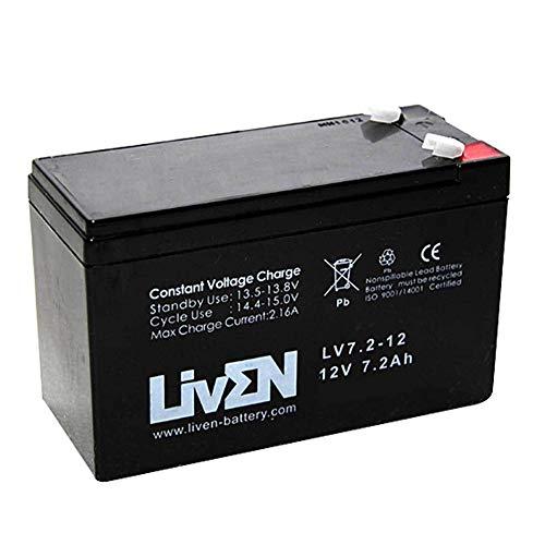Batería AGM 12V 7.2Ah C-20 Sin Mantenimiento - Equipos Seguridad/Médicos/SAI/Comunicación/Emergencia   LIVEN LV7.2-12 F2