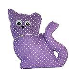 Handmade Design - Lavendelkissen - Duftkissen - Zierkissen - mit echtem Lavendel (Katze - Lila, 17 x...