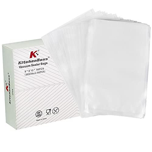 KitchenBoss Bolsas de Vacío,50 Unidades 20x30cm,Bolso en Relieve para la Conservación de Alimentos y Cocción al Vacío,BPA Free