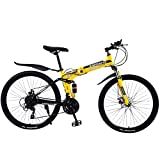 QCLU 24 Inch Folding Mountain Bike, Lightweight Mini Folding Bike Adult Student Bicycle Small Portable Bicycle (Color : Yellow)