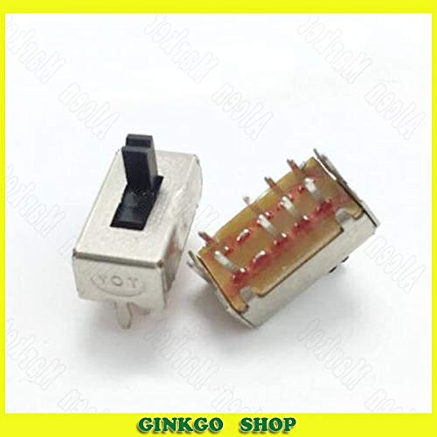 200pcs lot SS23D07 2P3T Double Row Straight Pin Toggle Slide Switch with Stand 8 Pin greenical Type