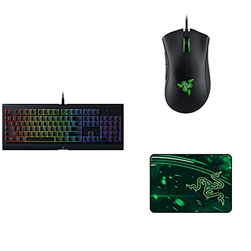 Razer Cynosa Chroma Gaming Keyboard: Customizable Chroma RGB Lighting with Deathadder Essential Gaming Mouse & Goliathus Speed (Medium) Gaming Mousepad