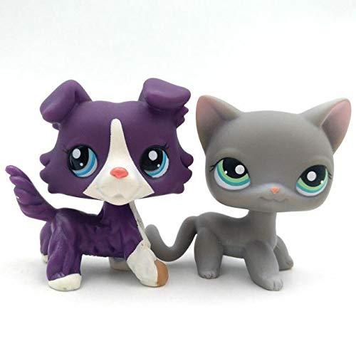 2pcs/Lot Kid Toy Littlest Pet Shop Purple Collie Dog Grey Cat LPS#126#1676