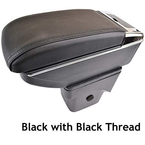 Reposabrazos de piel negra de doble capa para Focus 2 2005-2011 MK2, consola central, caja de almacenamiento, reposabrazos