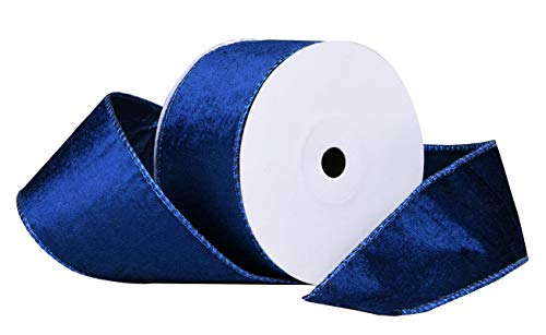 10 Yards Christmas Velvet Ribbon,2.5' Wide Wired Ribbon for Christmas Crafts Decoration, Wrapping Crafts (Blue)