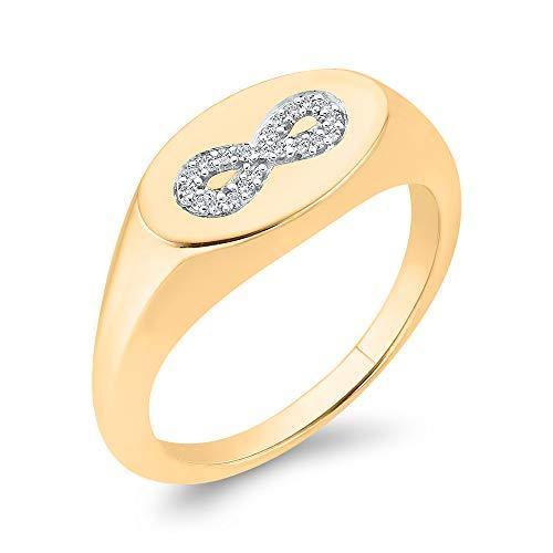 Anillo para zapatos de caballo de diamante en oro de 14 K (1/5 quilates) (color JK, claridad SI2/I1)