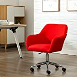 Mid Century ModernHome Office Swivel Desk Task Chair Armchair Fabric Accent Chair Dining Chair (Red)