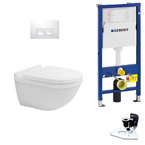 Geberit Duofix Vorwandelement Drückerplatte Delta 50 mit Duravit Starck 3 Wand-WC Rimless, spülrandlos mit Beschichtung, Komplett-Set