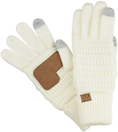 C C Unisex Cable Knit Winter Warm Anti Slip Touchscreen Texting Gloves Ivory product image