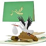 Tarjeta de nacimiento, cigüeña neutral, tarjeta de felicitación pop up para mamá y papá, regalo para bebé   vale y regalo para nacimiento para niña o niño   G23.1