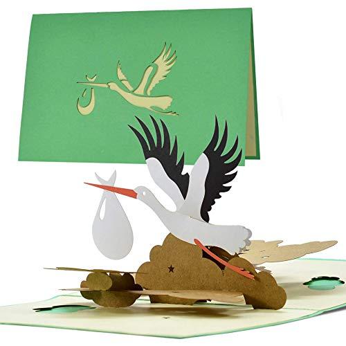 Karte Geburt Storch neutral|Pop up Glückwunschkarte Geburt für Mama und Papa|Baby Geschenk|Gutschein und Geschenk zur Geburt für Mädchen oder Junge|G23.1